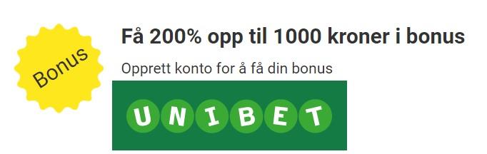 Unibet oddside med 200% oddsbonus og Cash In
